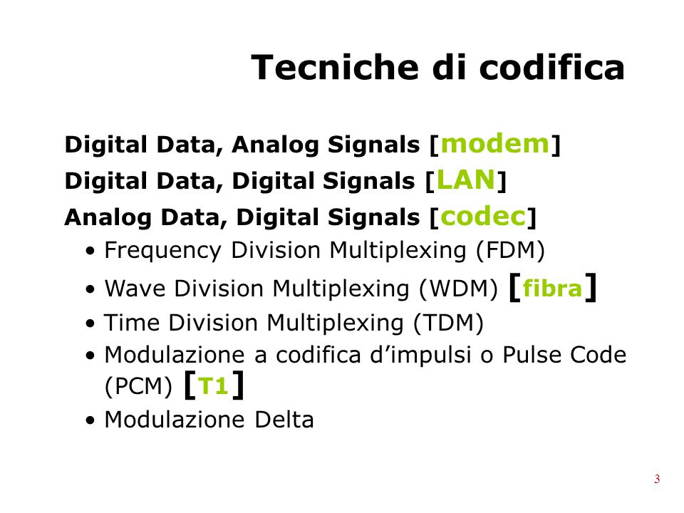Tecniche di codifica Digital Data, Analog Signals [modem]